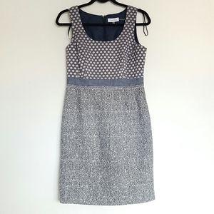 Calvin Klein tweed and denim sheath dress
